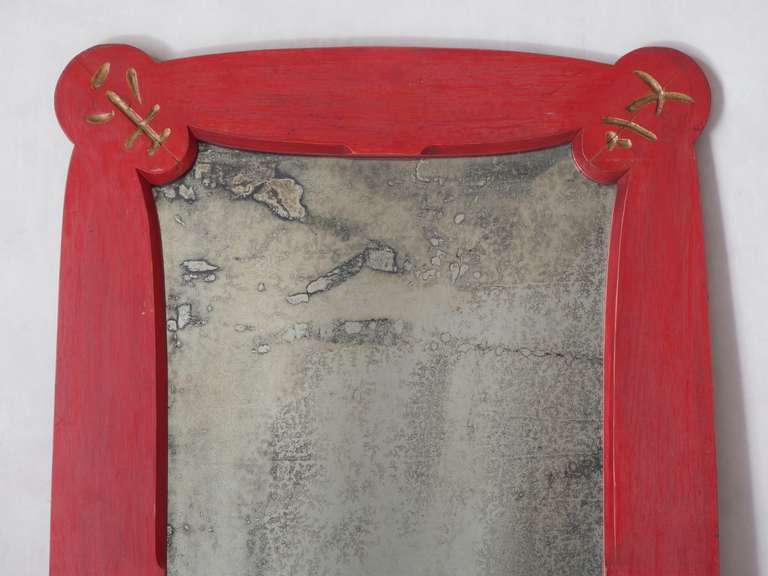 French Art Deco Chinese Style Mirror, France, 1950s For Sale