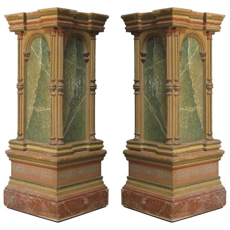Pair of Polychrome Pedestal Columns - Italy, 19th Century