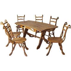 Organic Shaped Olive Wood Dining Room Set - St Paul de Vence, Côte d'Azur, 1960s