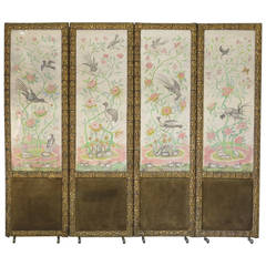 Four-Panel Screen with Painted Birds and Butterflies, France Early 1900s