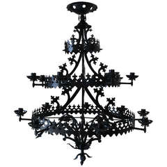 Large Gothic Revival Chandelier, France, 1940s