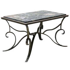 Art Deco Hammered Iron and Marble Coffee Table, France, 1930s
