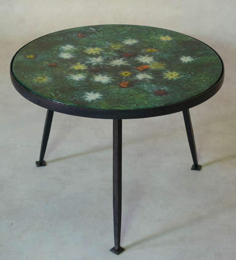 Coffee Table With Colourful Enameled Top France 1950s For Sale At 1stdibs