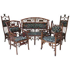Five-Piece Bamboo Living Room Set, France, 19th Century