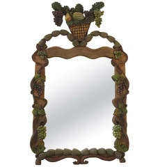 Elaborately Carved Polychrome Wood Frame and Mirror