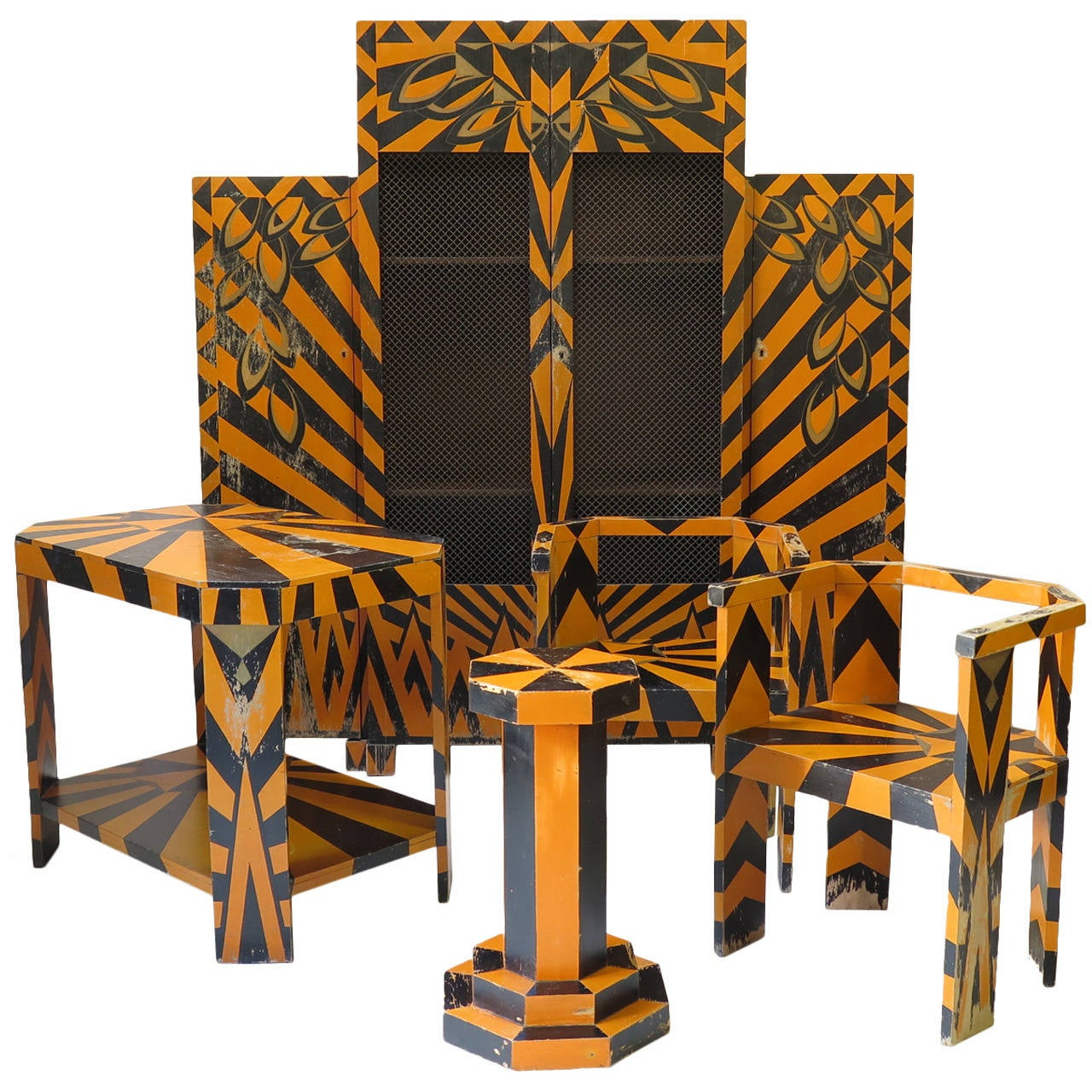 striking cubist art deco set france 1930s at 1stdibs. Black Bedroom Furniture Sets. Home Design Ideas
