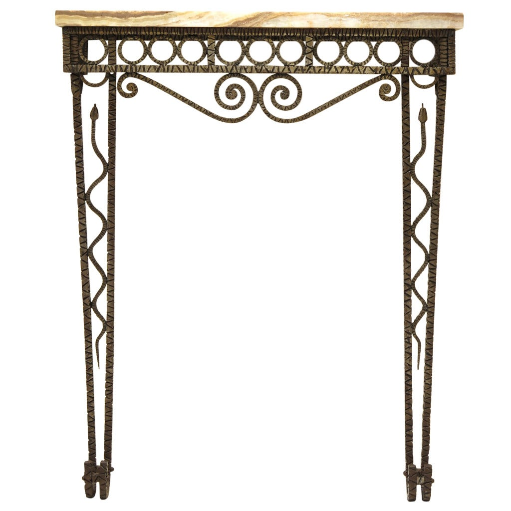 hammered iron art deco serpent console with onyx top. Black Bedroom Furniture Sets. Home Design Ideas