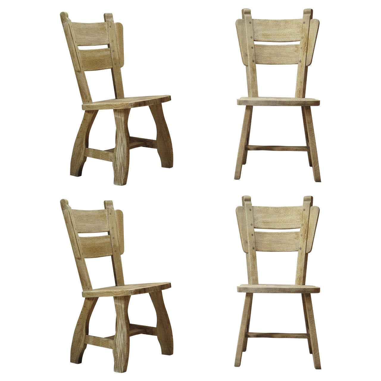 Set of 4 Brushed Oak Chairs - France, Circa 1950s