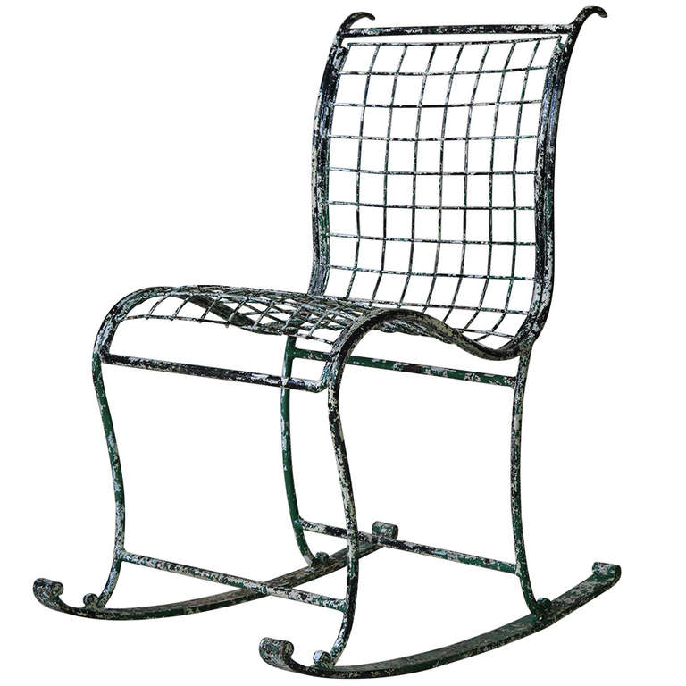 Superbe Unique Wrought Iron Rocking Chair, France, 1920s For Sale
