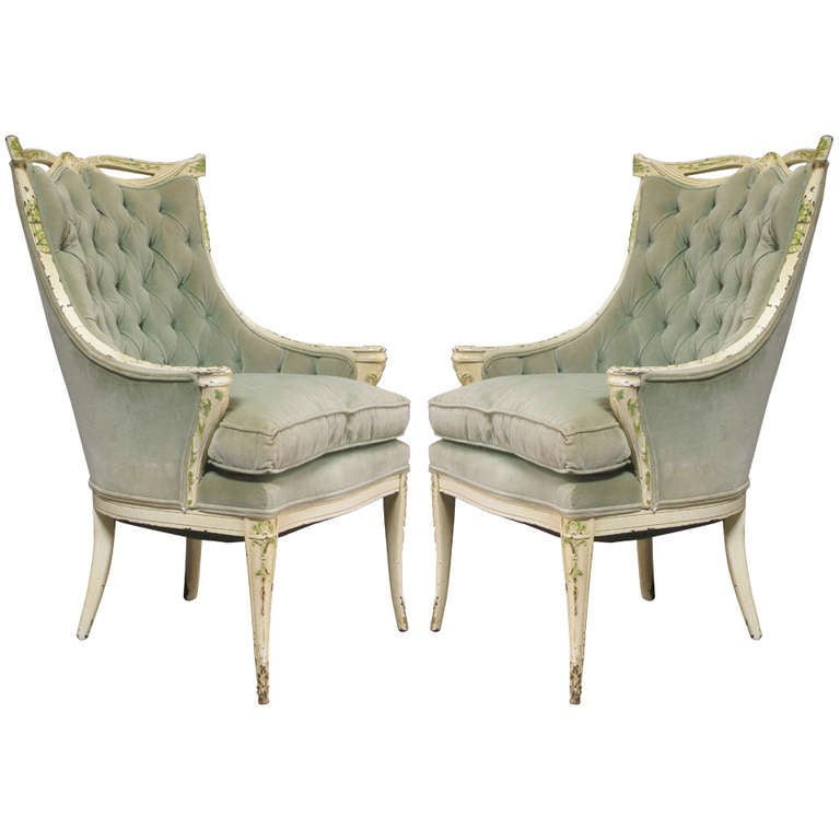 Louis XVI Style Swag Back Tufted Armchairs, France, 1940s