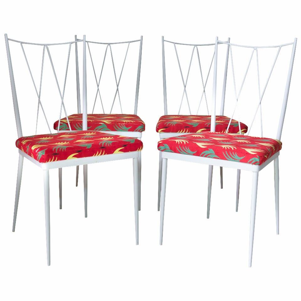 Set of Four Painted Iron Dining Chairs, France, 1950s