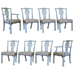 Set of Six Chippendale Style Chairs and Two Carvers, France, circa 1940s