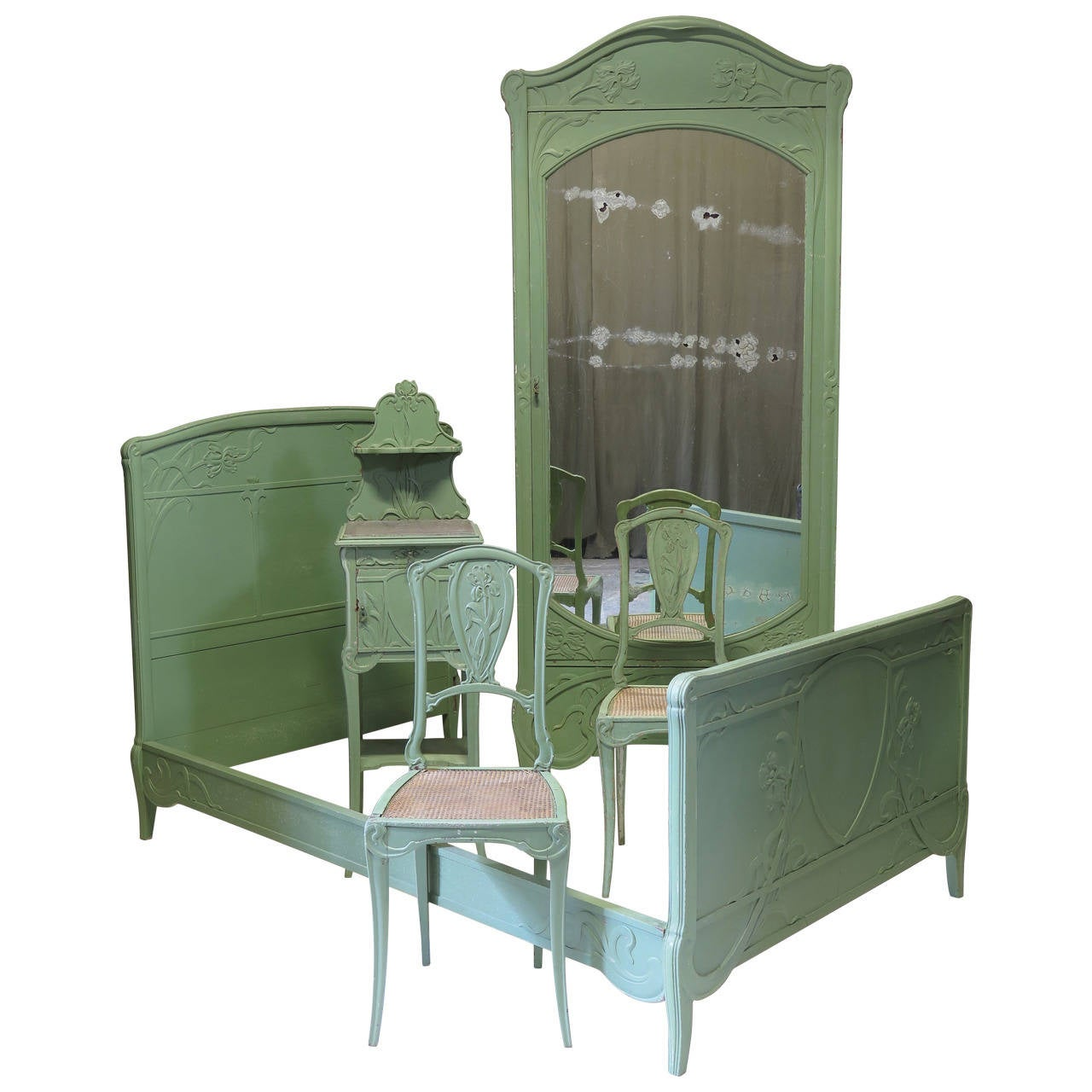 Art Nouveau Bedroom Set, France, Early 1900s For Sale At