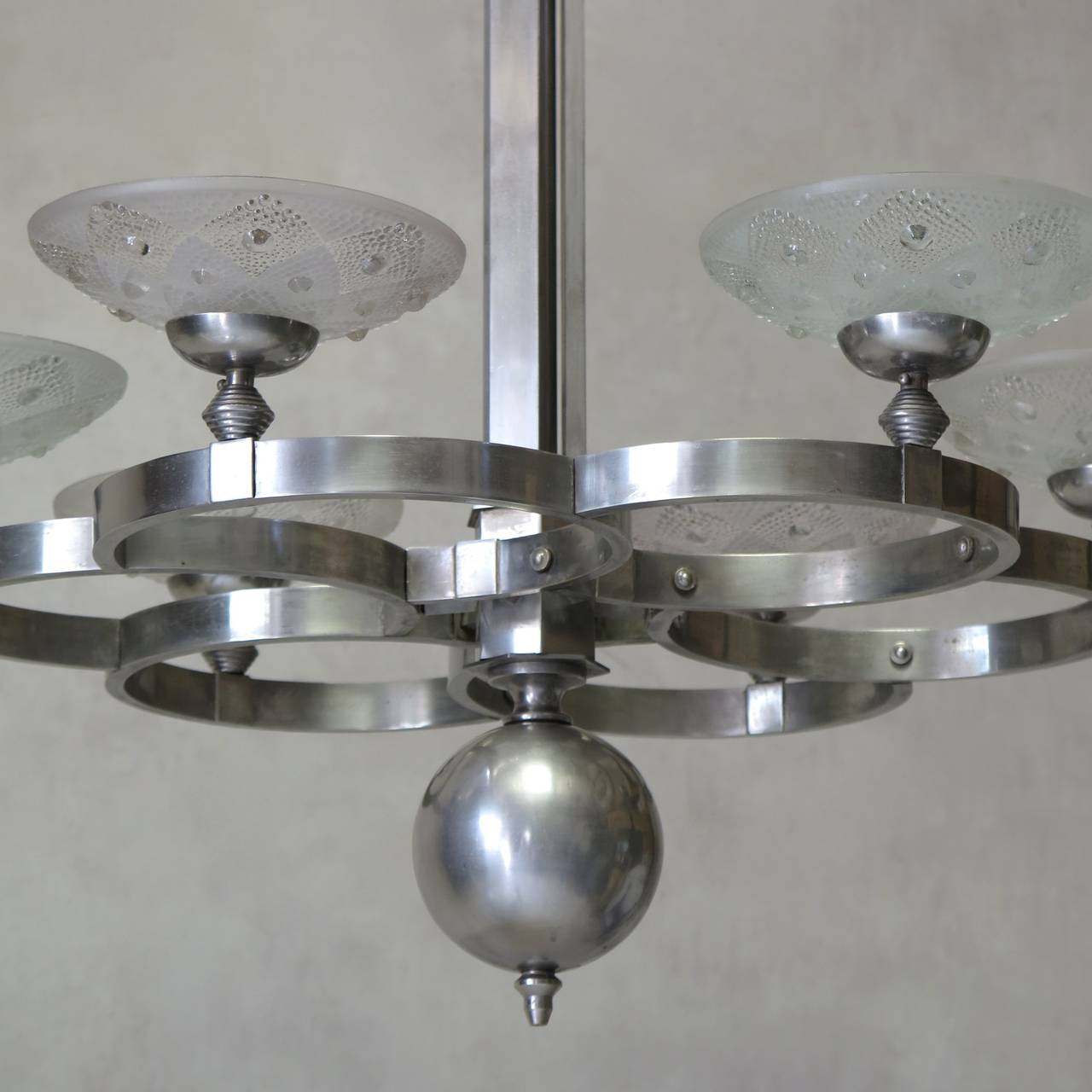 French 1930s Modernist Chandelier For Sale 1