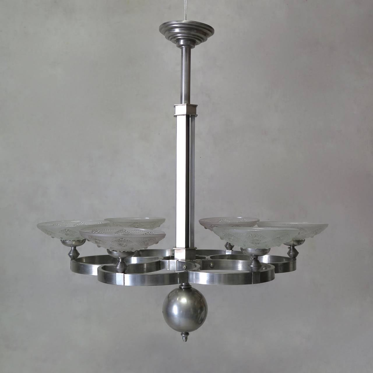 Art Deco French 1930s Modernist Chandelier For Sale