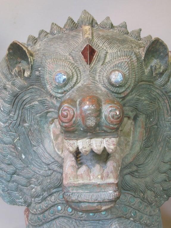 Impressive Pair of Temple Guardian Lions, Burma, circa 18th Century 5