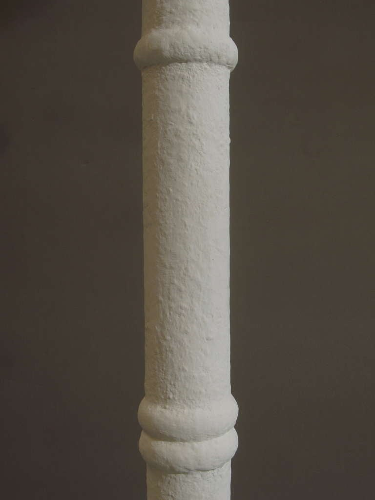 20th Century 1950s French Textured Plaster Torchiere Floor Lamp For Sale