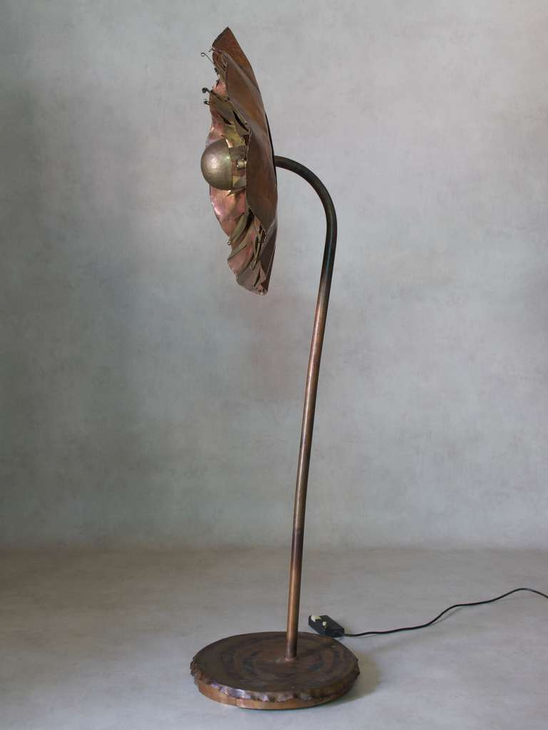 Large and unusual brutalist copper floor lamp for sale at for Big copper floor lamp