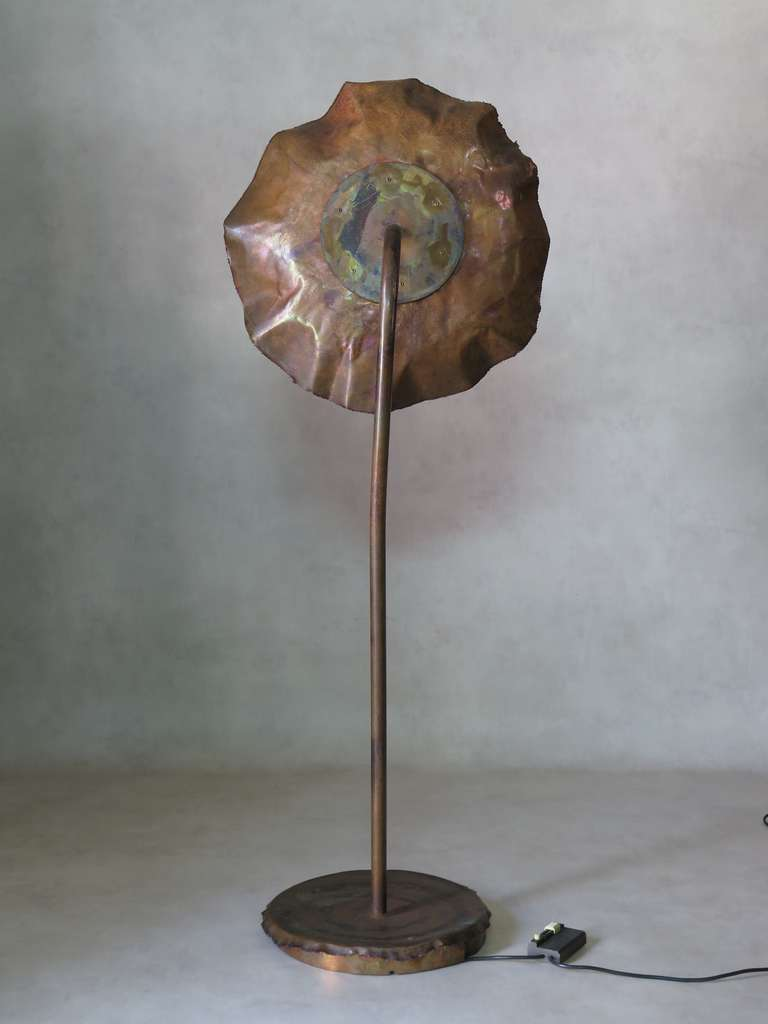 Large and unusual brutalist copper floor lamp at 1stdibs for Big copper floor lamp