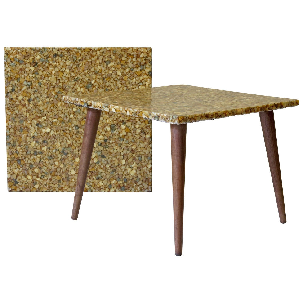 Pair Of Mid Century Resin U0026 Pebble Top Side Tables 1