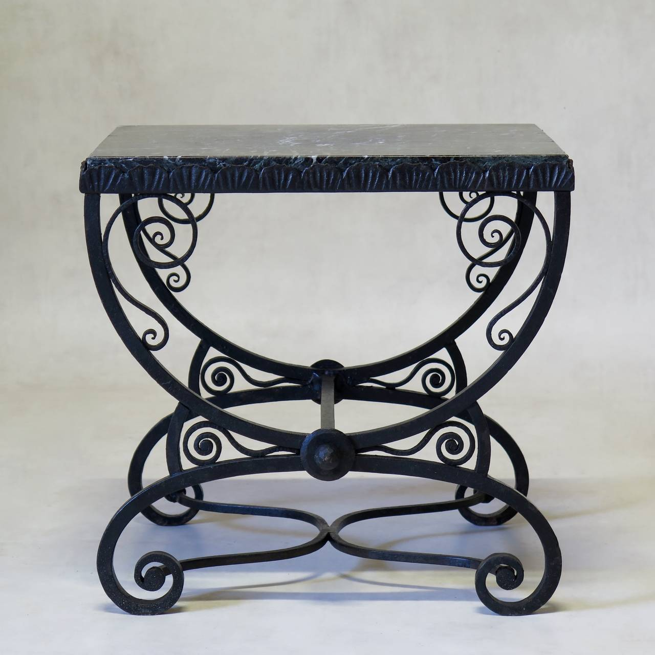 Small art deco wrought iron table with green marble top for Wrought iron table bases marble top