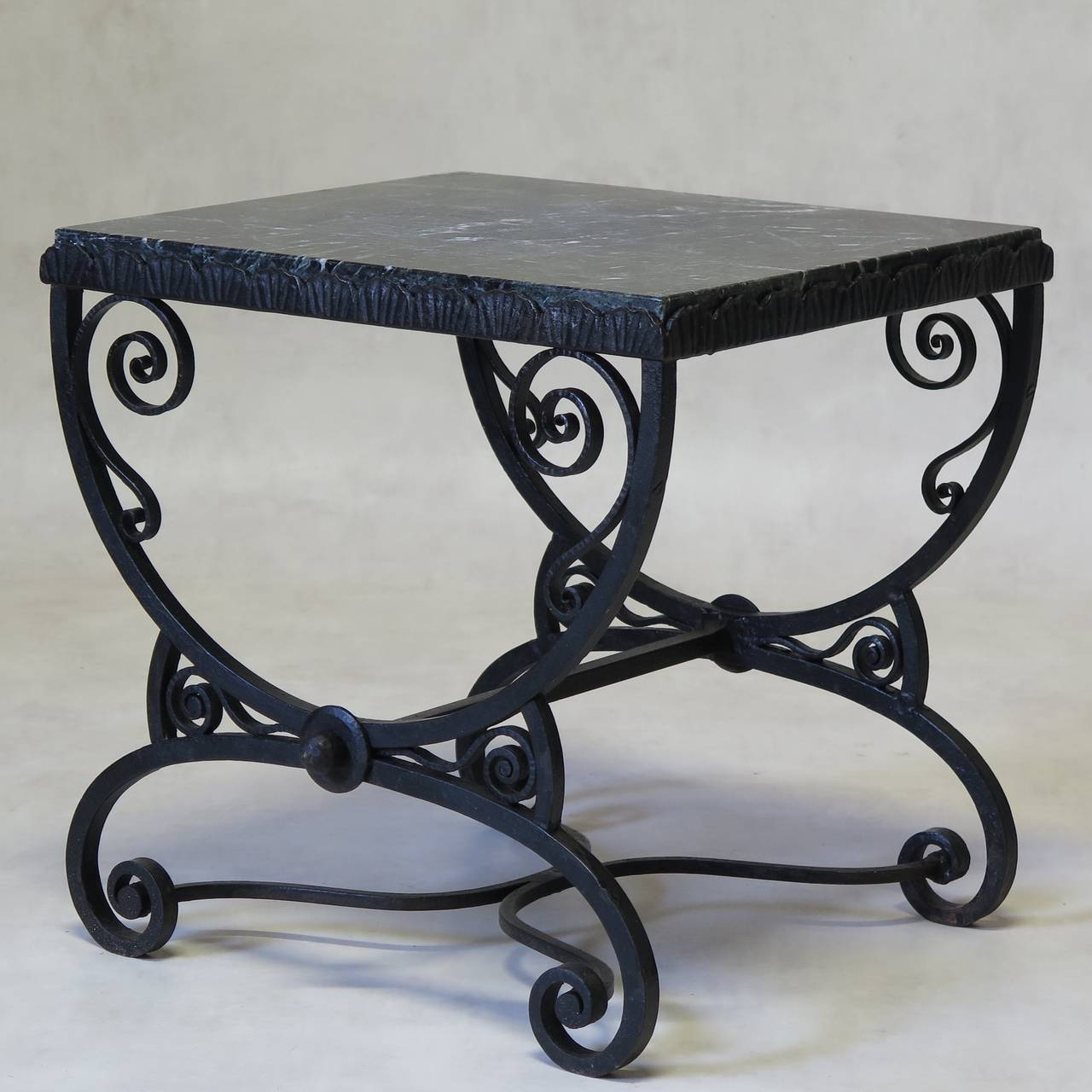 Charming Art Deco Table With A Scrolling, Curule Shaped, Hammered And Wrought  Iron