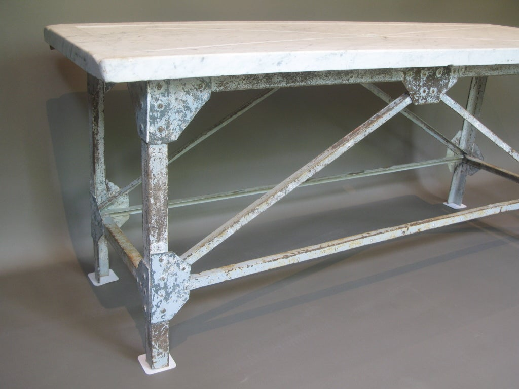 French fishmonger 39 s table w wrought iron base and marble for Wrought iron table bases marble top