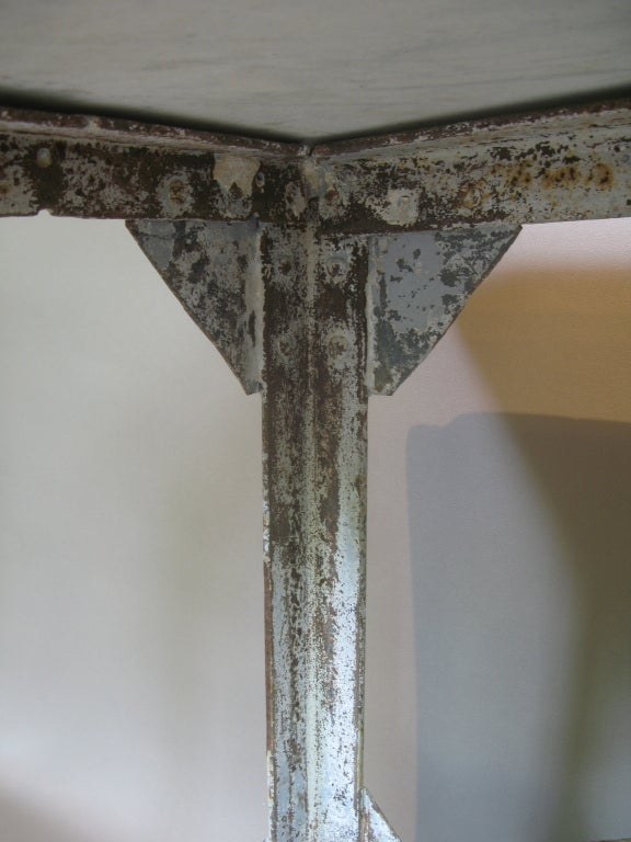 French Fishmonger S Table W Wrought Iron Base And Marble