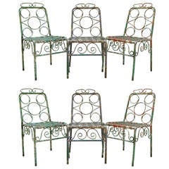 Set of Six Painted Iron Chairs