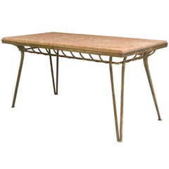 French Gilt Iron and Red Marble Low Table