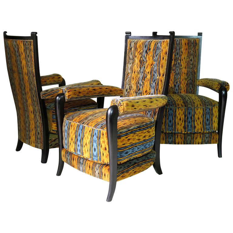 Set of Three Art Deco Armchairs, France, circa 1930s
