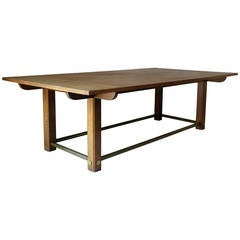 Large Oak and Brass Table, France, circa 1950s