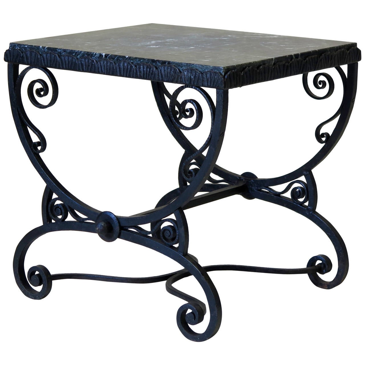 small art deco wrought iron table with green marble top. Black Bedroom Furniture Sets. Home Design Ideas