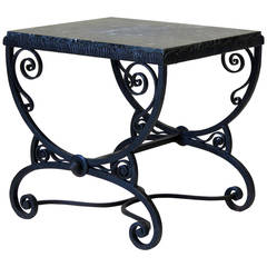Small Art Deco Wrought Iron Table with Green Marble Top - France, 1930s