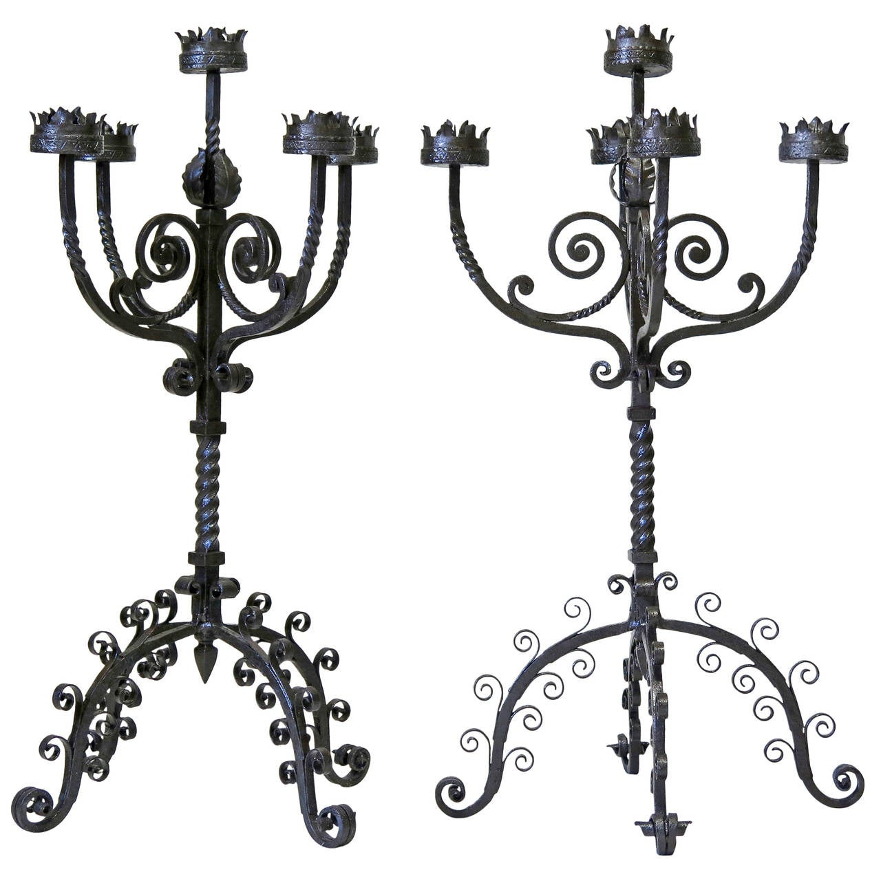 Large Pair Of Meval Style Wrought Iron Candelabras Italy 19th Century For