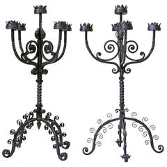Large Pair of Medieval Style Wrought Iron Candelabras - Italy, 19th Century