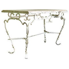1950s' French Hand-Wrought Iron and Marble Table