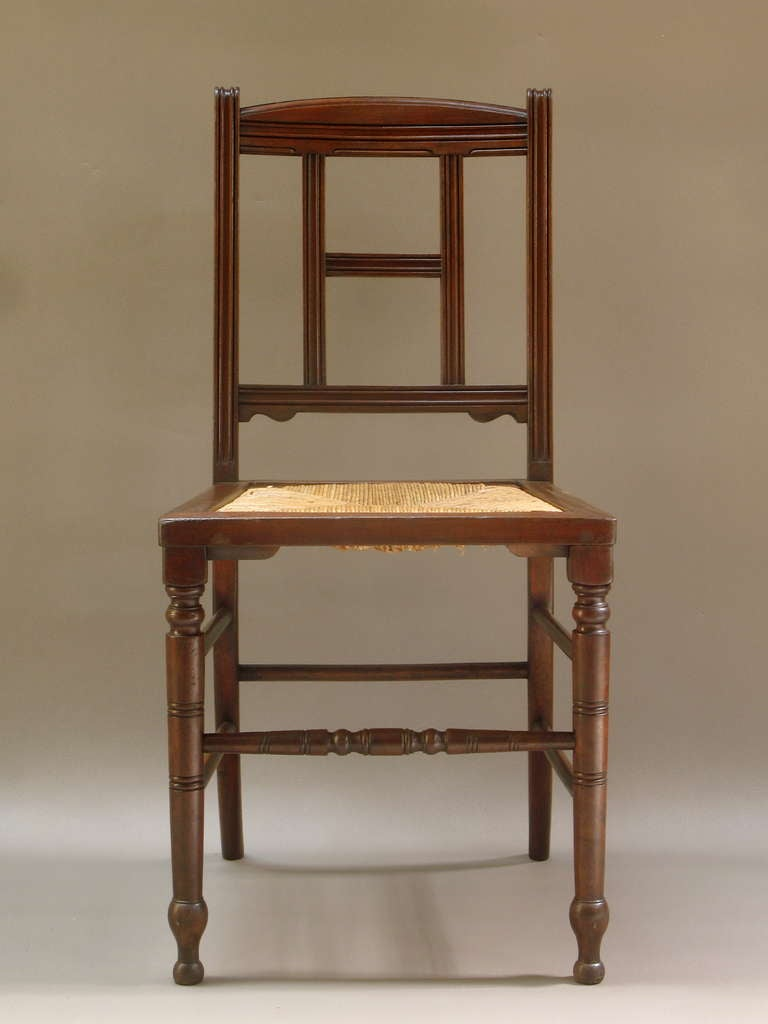Set Of Six Mahogany And Rush Dining Chairs For Sale At 1stdibs