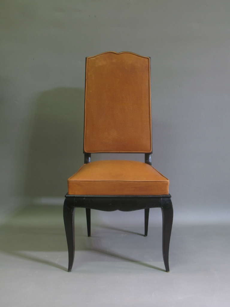 Art Deco 6 Leather Upholstered Dining Chairs - France, 1940s For Sale