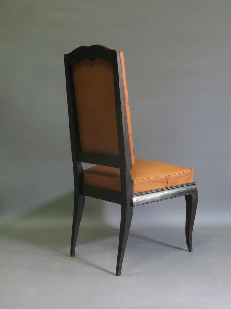 6 Leather Upholstered Dining Chairs - France, 1940s For Sale 1