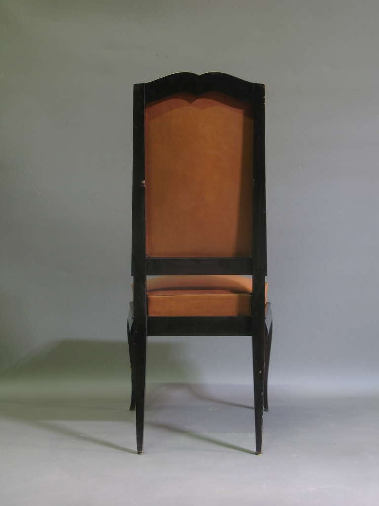 6 Leather Upholstered Dining Chairs France 1940s For