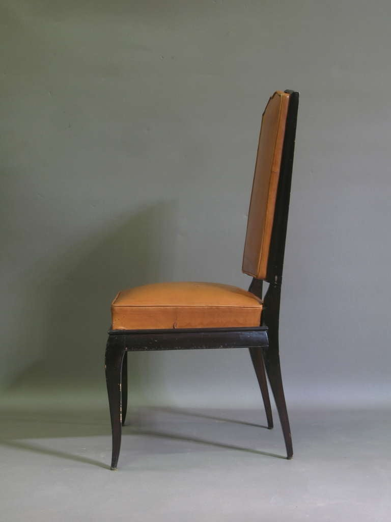 6 Leather Upholstered Dining Chairs - France, 1940s In Excellent Condition For Sale In Isle Sur La Sorgue, Vaucluse