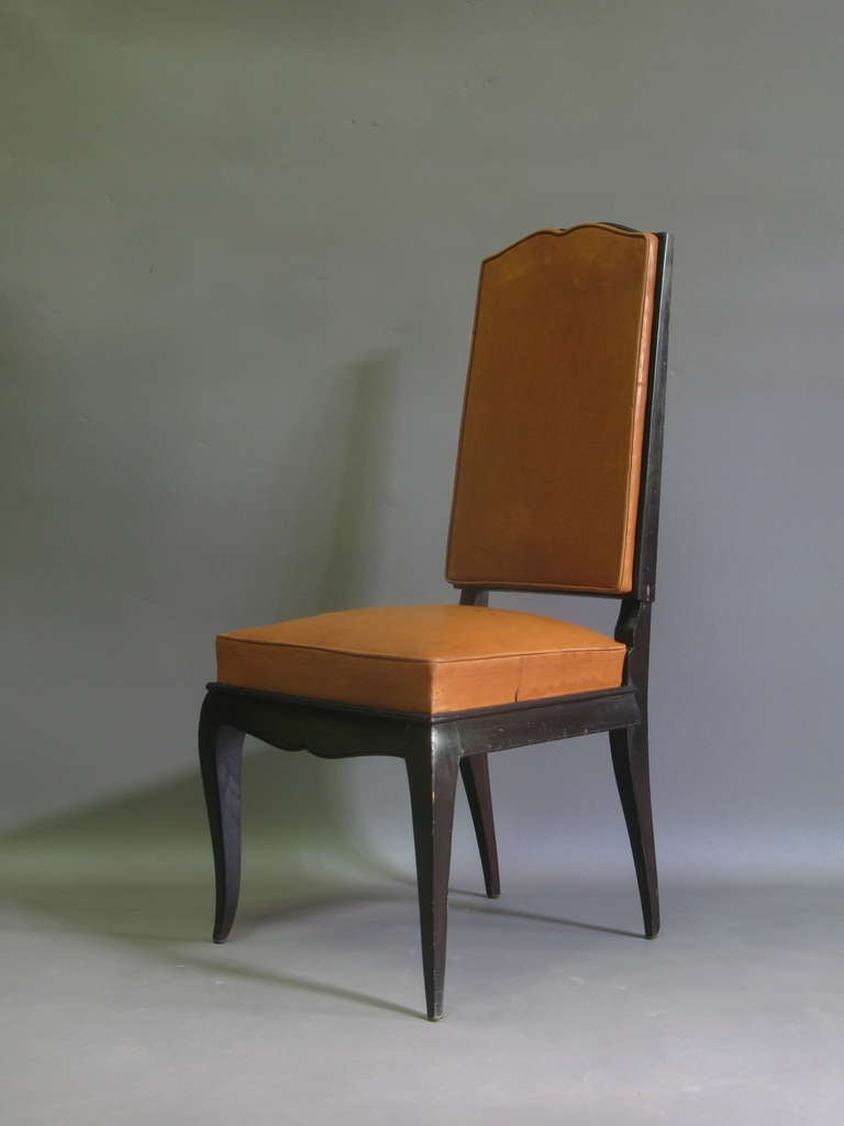 French 6 Leather Upholstered Dining Chairs - France, 1940s For Sale