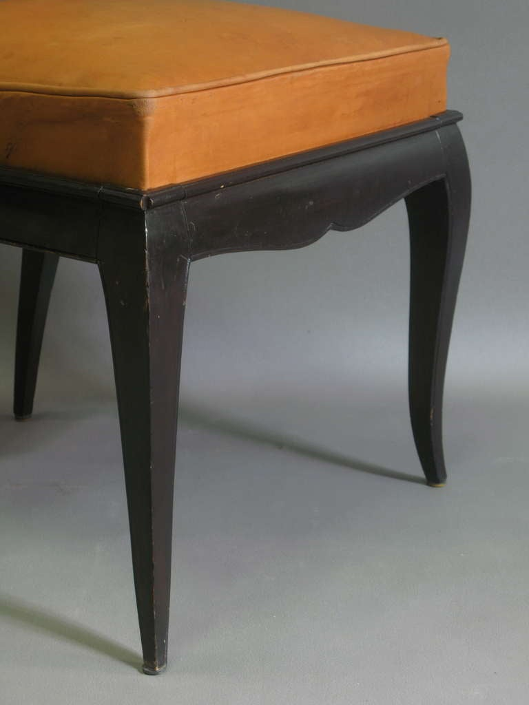 6 Leather Upholstered Dining Chairs - France, 1940s For Sale 3