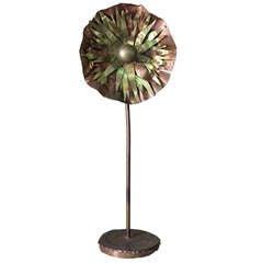 Large and Unusual Brutalist Copper Floor Lamp