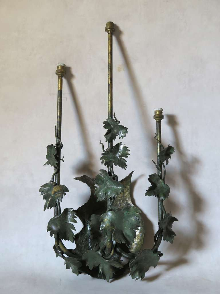 Pair of Painted Tole Vine Leaf Sconces For Sale at 1stdibs