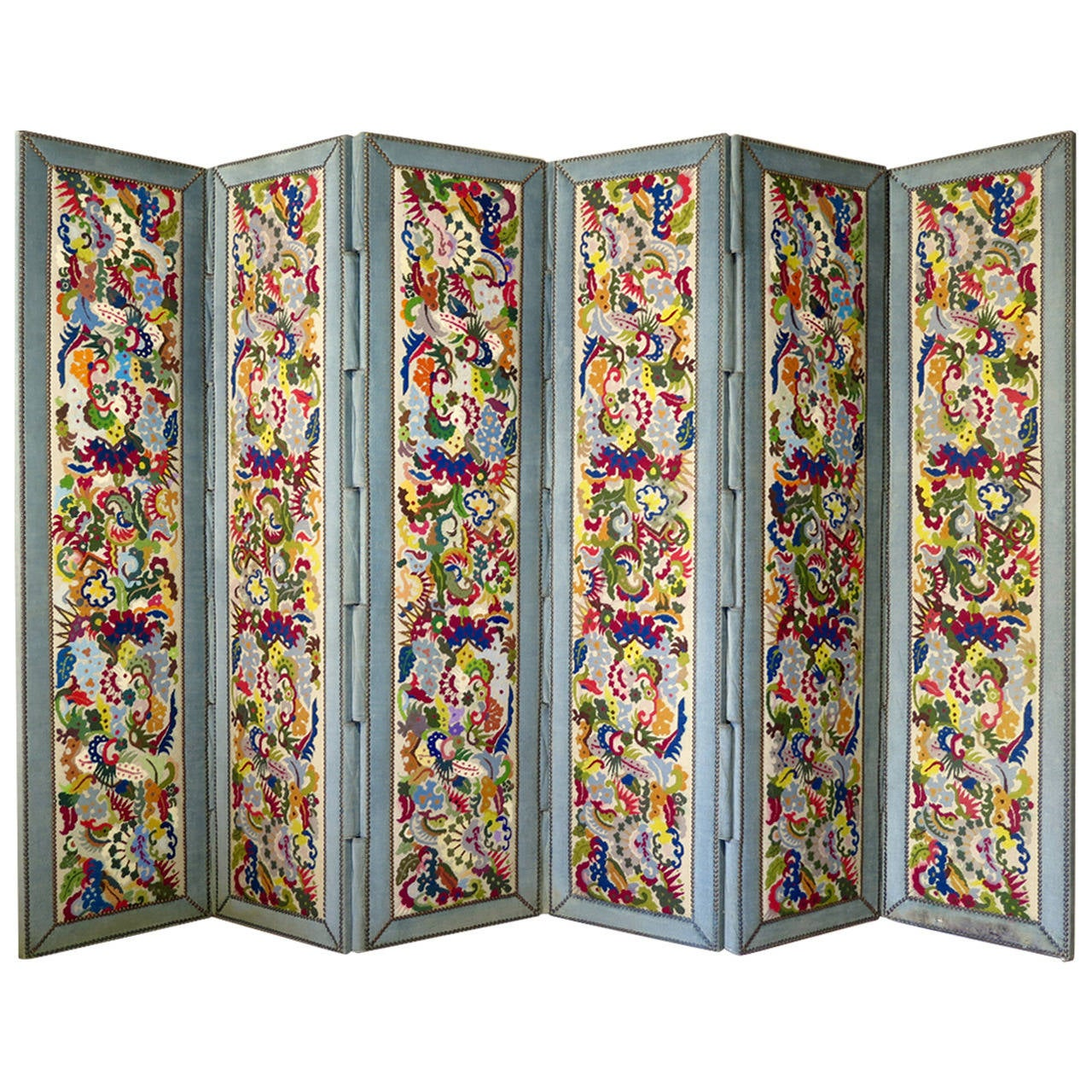 Six-Panel Tapestry Upholstered Screen, France, 1940s For Sale