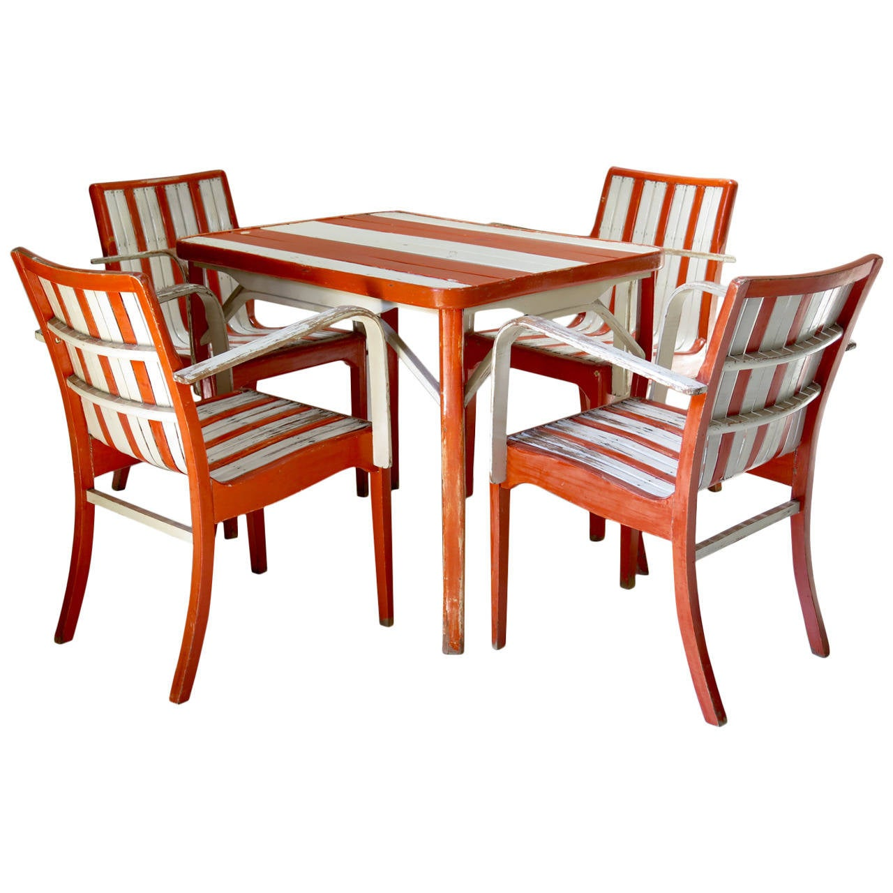 Beach Spirit Set of Four Armchairs and a Table, France, 1950s