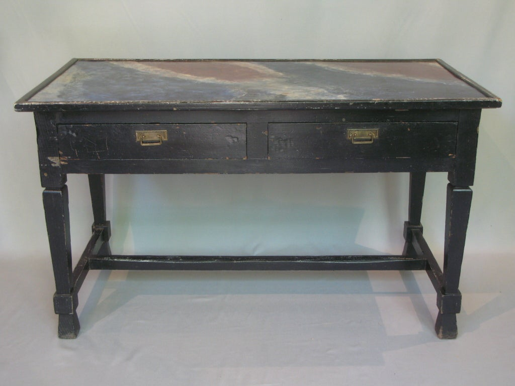 Console table with faux marble painted top for sale at 1stdibs for Painted foyer tables