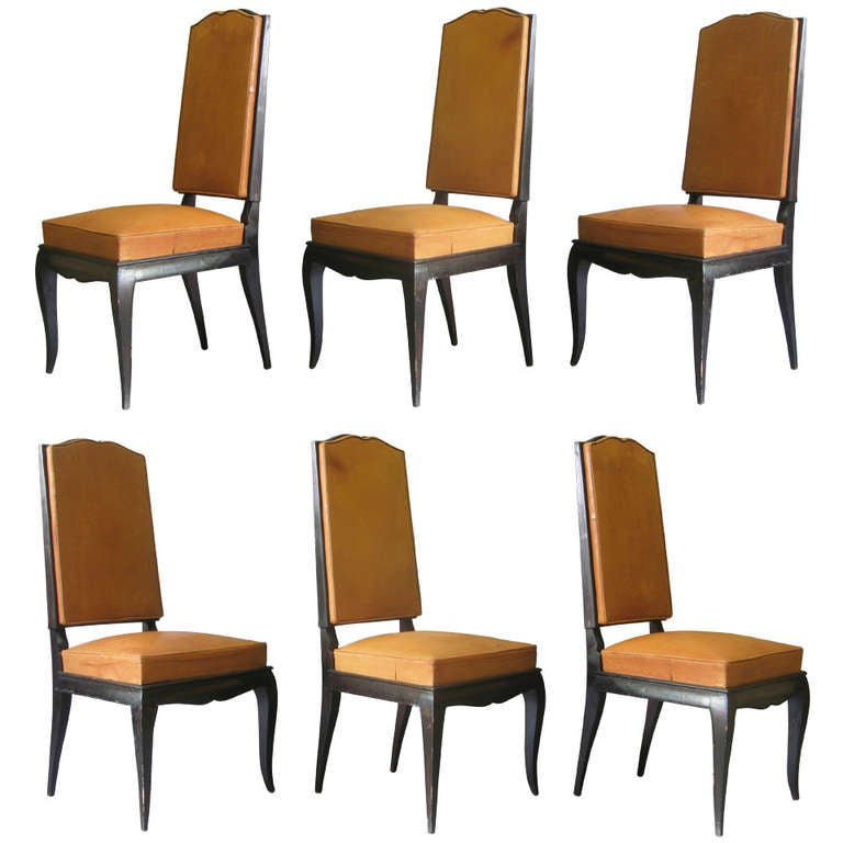 6 Leather Upholstered Dining Chairs - France, 1940s For Sale